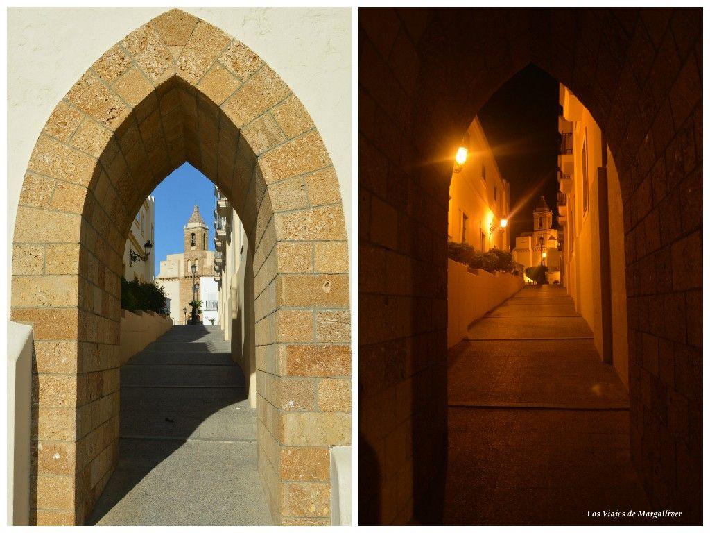 Arco hacía la iglesia de la O de día y de noche , Rota - Los viajes de Margalliver